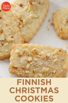 """Finnish Christmas Cookies """"My friend bakes these cookies at Christmas,"""" says Judith Outlaw of Portland, Oregon. """"They're popular at cookie exchanges, but my friend's husband urges her not to trade any of them! Cookie Desserts, No Bake Desserts, Just Desserts, Dessert Recipes, Dinner Recipes, Baking Recipes, Christmas Cooking, Christmas Desserts, Christmas Treats"""