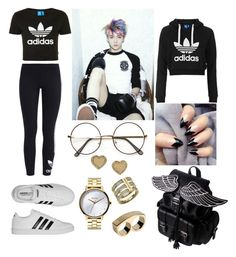 Untitled #350 by karla-armstrong on Polyvore featuring polyvore fashion style Topshop adidas Originals adidas Nixon Michael Kors Marc by Marc Jacobs clothing