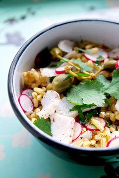 Warm salad of cod wheat and kapron