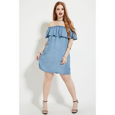 Forever 21 Plus Women's  Plus Size Chambray Dress (160 VEF) ❤ liked on Polyvore featuring plus size fashion, plus size clothing, plus size dresses, ruffle dress, plus size off shoulder dress, plus size short sleeve dresses, plus size off the shoulder dress and plus size day dresses