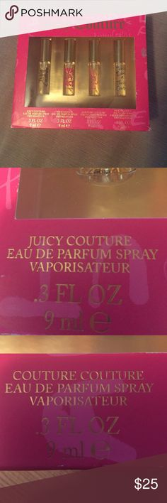🎉🎀Juicy Couture Perfume 🎀🎉 This is a Juicy Couture Perfume sample kit. It includes 4 separate 0.3 fl oz. perfumes. Samples include Juicy Couture, viva la juicy, couture couture, and peace love and juicy couture. 🎀🎉open to offers!!!!🎉🎀 Juicy Couture Other