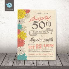 Adult Birthday Printable Invitation Surprise 50th by PuffishDesign