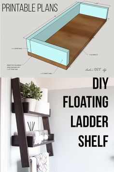 DIY Floating ladder shelf This is the shelf I have been waiting for! This DIY floating ladder shelf is so genius! Full video and writte tutorial for how to build this DIY ladder shelf. Great adition for bathroom, living room, entryway and small spaces. Diy Quotes, Diy Regal, Diy Ladder, Hanging Ladder, House Ideas, Design Living Room, Diy Living Room Decor, Decor Room, Wall Decor