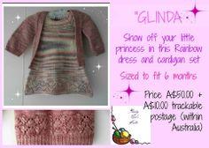 Handmade by Aunty Nat's Knits  'Glinda' Rainbow dress and Baby Vertebrae set