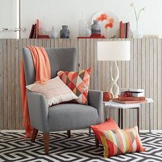2019 Pantone color of the year, Living coral decoration, Gray and coral, Geometric prints, Living room corner, Reading corner