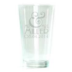 Pub Glass - 16oz - Mr & Mrs. Personalized with date