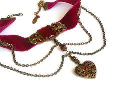 Heart Locket and Cross Choker - Gothic Red Velvet Choker - Multi Way Jewelry - 3 in 1 Jewelry - Gothic Jewelry