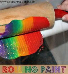 Rolling Paint! | Child Central Station- Great process art for young children- and good for motor skills and tracking too!