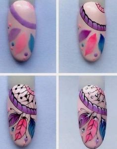 Attrapes rêves nail artYou can find Funky nail art and more on our website. Nail Art Hacks, Nail Art Diy, Cool Nail Art, Diy Nails, Cute Nails, Pretty Nails, Funky Nail Art, Funky Nails, Dream Catcher Nails