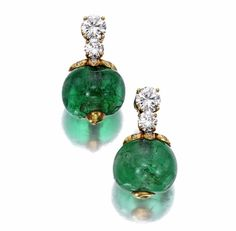 A pair of emerald and diamond earrings | Bonham's