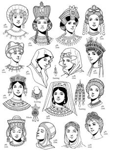 """Women's Hairstyles of the Eastern Roman Empire Source : Tom Tierney, """"Byzantine Fashions"""" Medieval Fashion, Medieval Clothing, Ancient Egypt Fashion, Historical Costume, Historical Clothing, Petit Tattoo, Early Middle Ages, Byzantine Art, Fashion History"""