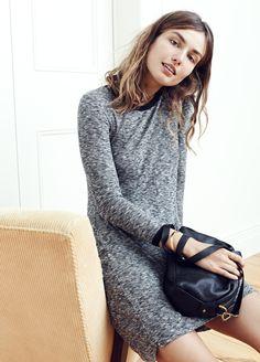 madewell ribbed knit dress worn with the mini glasgow crossbody bag + glider bangle bracelet.