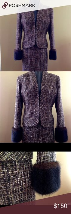Adrienne Vittadini tweed suite with real mink fur Absolutely gorgeous designer tweed suite with real mink fur!!! Style of this suite is elegant and details are amazing.  Perfect for the creative type who still wants to look elegant, fashionable and professional. A truly unique suite!!! Blazer size 8, skirt size 6. Midi skirt length 24 inches. Gently used and in great condition Adrienne Vittadini Other