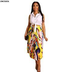 9a2912a252 2019 nuevo verano de las mujeres de cintura alta colorida onda rayas  mid-calf faldas