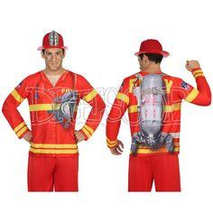 Disfraz camiseta 3 D Bombero para hombre - Dresoop.es