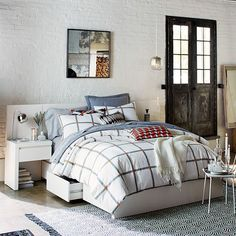 west elm's modern bedroom furniture features sleek styles & clean lines. Find an assortment of contemporary bedroom furniture including nightstands, drawers & headboards. Bed Furniture, White Headboard, Furniture, Bedroom Furnishings, Storage Bed, White Bedding, White Nightstand, Modern Bedroom Furniture, Headboards For Beds