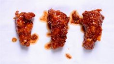 """KFC sauce  1 1 1⁄2"""" piece peeled ginger 3 tbsp. soy sauce 3 tbsp. gojujang (Korean chile paste) 1 1⁄2 tbsp. rice vinegar 1 tbsp. Asian sesame oil 1 tbsp. honey 2⁄3 cup flour"""