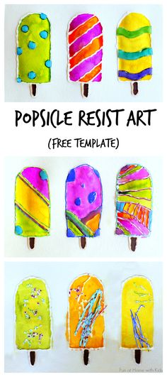 Keep cool this summer with fun Popsicle Resist Art.  FREE printable popsicles can be used as coloring sheets or as templates for creating this resist art.  From Fun at Home with Kids