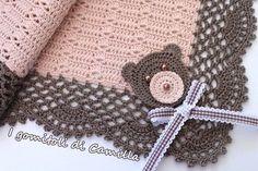 Crochet cotton blanket with teddy bear Camilla's balls Crochet Towel, Baby Afghan Crochet, Baby Afghans, Afghan Crochet Patterns, Love Crochet, Crochet Doilies, Knit Crochet, Knitting Patterns, Sunburst Granny Square