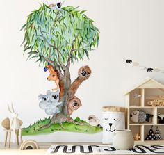 This Aussie Mates Tree Wall Sticker is inspired by our unique and wonderful wildlife. This design incorporates some of our most popular Aussie Icons. Australian Nursery, Australian Animals, Large Wall Stickers, Nursery Wall Stickers, Printable Fabric, Watercolor Artwork, Tree Wall, Cool Walls, Wall Design