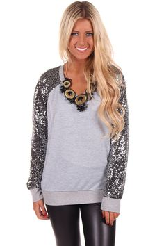 Lime Lush Boutique - Grey Sweater with Sequin Sleeve Detail, $46.99 (http://www.limelush.com/grey-sweater-with-sequin-sleeve-detail/)