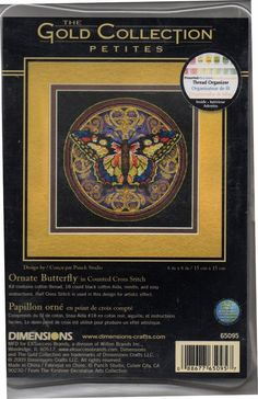 """Dimensions Gold Collection Cross Stitch Ornate Butterfly 65095 Petites 6""""x 6"""" #Dimensions"""