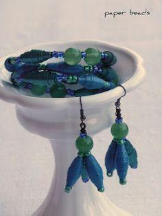 paper beads Paper Bead Jewelry, Fabric Jewelry, Paper Beads, Jewelry Crafts, Beaded Jewelry, Jewelry Ideas, Fabric Beads, Upcycled Crafts, Paper Quilling