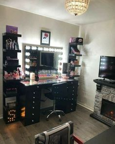 DIY Makeup Room Ideas With Design Inspiration,. - DIY Makeup Room Ideas With Design Inspiration, Organizer & Picture - Makeup Beauty Room, Makeup Room Decor, Black Makeup Room, Makeup Studio Decor, Beauty Room Decor, Vanity Makeup Rooms, Vanity Room, Makeup Vanities, My New Room