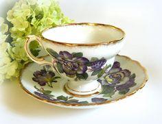 Rosina English Bone China Teacup and Saucer Purple Floral