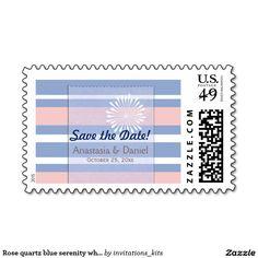 Rose quartz blue serenity white stripes #wedding stamps #zazzle