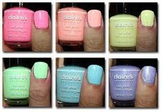 Pastel color nail polish any color especially pinks, oranges, yellow and blue