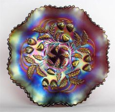 """STRAWBERRY by NORTHWOOD ~ AMETHYST CARNIVAL GLASS 8-RUFFLE 9"""" BOWL ~ PLAIN EXT."""