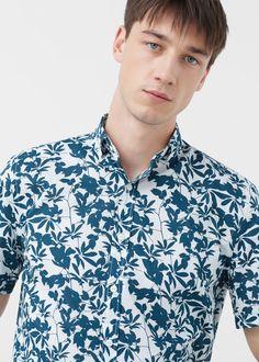 Camisa slim-fit estampado folhas | MANGO MAN