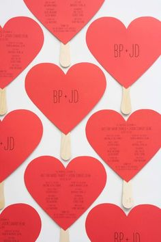 These sweet heart-shaped programs that double as fans for a warm outdoor ceremony. 21 Incredibly Gorgeous Wedding DIYs That You Can Actually Do Diy Wedding Program Template, Creative Wedding Programs, Printable Wedding Programs, Wedding Ceremony Programs, Outdoor Ceremony, Wedding Venues, Reception, Spring Wedding Invitations, Wedding Invitation Cards