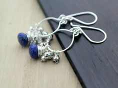 Lapis & Pyrite Sterling Silver Chandeliers