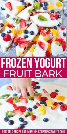Healthy Frozen Yogurt Bark - this frozen yogurt fruit bark is easy for kids to make and eat! # Desserts for kids Frozen Yogurt Fruit Bark Healthy Fruit Desserts, Health Desserts, Healthy Snacks For Kids, Healthy Baking, Easy Snacks, Healthy Recipes, Healthy Fruits, Easy Desserts, Healthy Birthday Treats