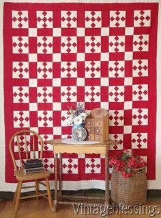 Sensational American Handmade Red &White QUILT Graphic Display Farmhouse to Loft www.Vintageblessings.com
