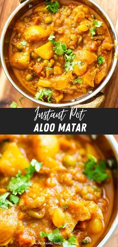 Easy and quick Instant Pot aloo matar curry (Potatoes and peas). Made with simple pantry ingredients, for beginners. Delicious, easy curry for the family! #vegan #vegetarian #restaurant #style #curry #indian #recipe #potatoes #peas #authentic #cashew #dinner #lunch #orange #tomato #onion #gravy #delish Healthy Indian Recipes, North Indian Recipes, Ethnic Recipes, Aloo Matar Recipe, Potato And Pea Curry, 30 Min Meals, Paneer Tikka, Curry Shrimp, Dried Mangoes