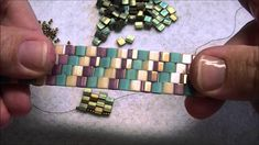 Kelly from Off the Beaded Path, in Forest City, North Carolina shows you how to do peyote stitch with Tila beads to make a bracelet We have materials used to. Peyote Stitch Patterns, Beaded Bracelet Patterns, Beading Patterns, Beaded Jewelry, Beaded Bracelets, Bracelet Tutorial, Minecraft Beads, Bead Jewelry, Pearls