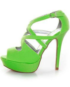 Qupid Glitter 113 Neon Green Lycra Strappy Platform Pump.    Love bright colored heels!!