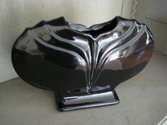 Black Art Deco Pottery Vase