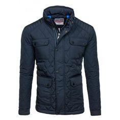 Pánska kabátová bunda bez kapucne tmavomodrej farby - fashionday.eu b3a2308239f