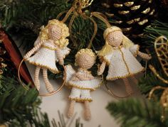 Christmas Decorating Angel crochet art doll by FancyKnittles