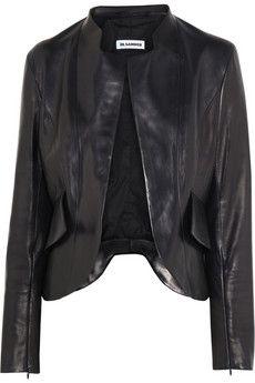 Jil Sander Nostradamus peplum-back leather jacket | THE OUTNET