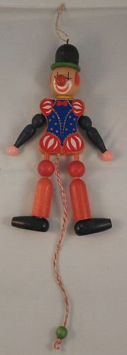 Vintage Wooden Jumping Jack Clown Pull String Toy Christmas Ornament RARE | eBay