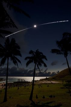 50 consecutive exposures shows a total solar eclipse over Easter Island
