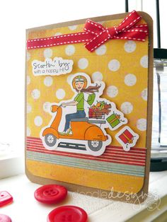 Scooter Diva card by Debbie Corbari. Gina K Designs January Release using Scooter Diva stamp set. All new releases found here: http://www.shop.ginakdesigns.com/category.sc?categoryId=16