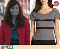 Belle's grey lace striped top, red coat and grey striped skirt on Once Upon a Time. Outfit Details: http://wornontv.net/23981 #OUAT #fashion