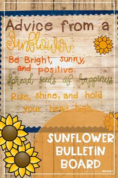 Have students share their words of affirmation with this adorable sunflower bulletin board set. Includes bulletin board letters and sunflower with two options of writing pages. Sunflower Bulletin Board, Rainbow Bulletin Boards, College Bulletin Boards, Kindergarten Bulletin Boards, Summer Bulletin Boards, Bulletin Board Letters, Classroom Bulletin Boards, Classroom Decor, Preschool Classroom