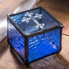 J Devlin Box Cross Keepsake Box Christening Baptism First Communion Confirmation Gift Rosary Glass Jewelry Box Engraved Blue Stained Glass Box Glass Display Box, Glass Boxes, Confirmation Gifts, Baptism Gifts, Cremation Boxes, Godparent Gifts, Glass Jewelry Box, Wedding Picture Frames, Translucent Glass